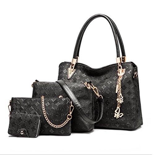 Longlove Frauen Clutch Bag 4 Set Kunstleder Schulter Crossbody Handtasche Handtaschen (Schwarz) Schwarz