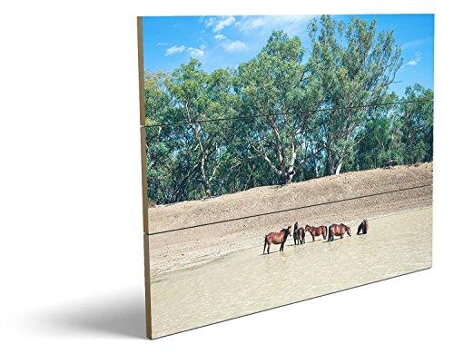Pferde im Wasser, qualitatives MDF-Holzbild im Drei-Brett-Design mit hochwertigem und ökologischem UV-Druck Format: 80x60cm, hervorragend als Wanddekoration für Ihr Büro oder Zimmer, ein Hingucker, kein Leinwand-Bild oder Gemälde (Leopard-druck-leder-boot)