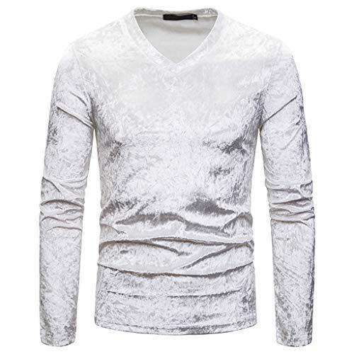 DNOQN T Shirt Lang Slim Fit Pullover Herren Mode Persönlichkeit Männer Beiläufig Senior Revers Diamant Samt T-Shirt Top Bluse L