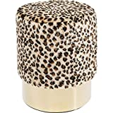 Kare Design Hocker, Stoff, Leopardenmuster, Kirschrot