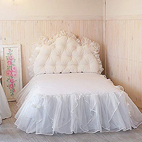 MYcM Bogen Spitze Bett Rock, Bett Wrap Anti-Allergie Ruffled Bettvolant Exquisite Verarbeitung Faltenvolant Drop Weiß-#19052801-180X200Cm(71X79Zoll)