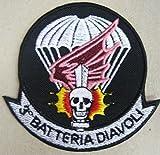 MAREL Toppa/Patch 3° BTR. DIAVOLI - 185° RGT. ARTIGLIERIA PARACADUTISTI FOLGORE ricamo,termoadesiva cm 9 replica-1226