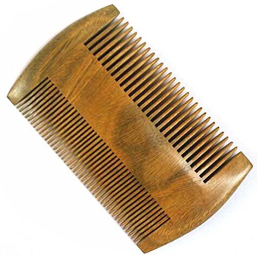 Vococal® 2 Côtés à Double Usage-Santal Vert Bois Pocket Peigne Barbe Peigne-Larges Et Fins Anti-Statique Tooth