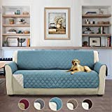 H.Versailtex Luxus Gesteppter Sofa Schutz Abdeckung Wasserresistenter Möbelschutz Überwurf, Strapazierfähig & Schmutzresistent – 190cm x 167cm Stein Blau