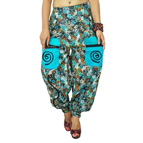 Pantalons indienne Harem Aladdin Casual Hippie Baggy Femmes Harem Bleu