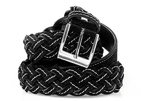 Cintura uomo LAURA BIAGIOTTI nera cinta intrecciata impunturata 120 cm R4022