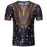 T-Shirt Africain, Malloom Chemise à Manches Courtes à Manches Courtes pour Hommes (XL, Noir(G))