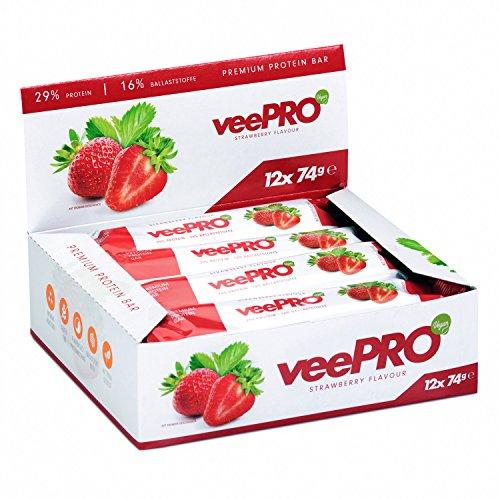 Protein-Riegel von PROFUEL® | Hochwertig und vegan aus Erbsen-Protein | Eiweiß-Riegel mit Ballaststoffe und Stevia| Ohne Gluten, Laktosefrei | 12 x 74g veePRO Protein-Bar STRAWBERRY