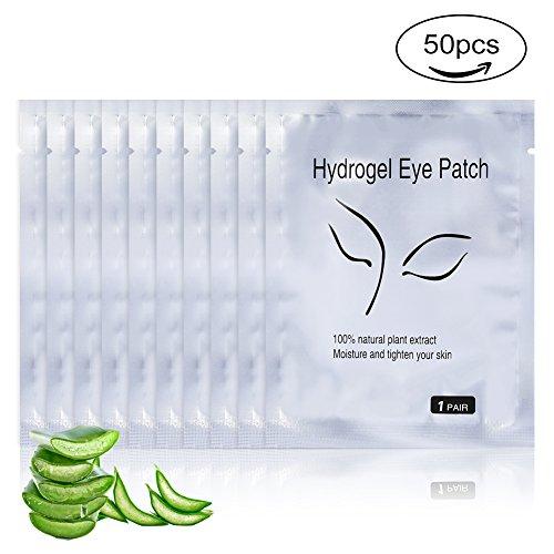 50 Paires Patch Yeux Professionnel Gel Patches des Yeux pour l'Extension des Cils Hydratant la Peau Beauté des Cils (Argent)