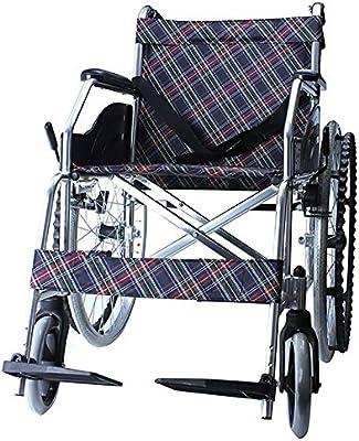 GUO Aluminio ligero plegable del freno de mano trasera silla de ruedas ancianos Patinete