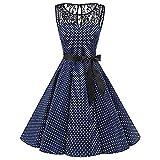 Holywin - Plissiertes Kleid mit Erbsen-Frau - Vintage Trapeze-Kleid mit hoher Taille
