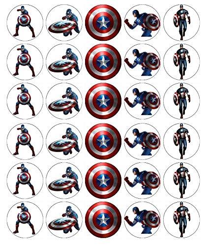 30 Captain America Marvel Avengers Cupcake-Topper aus essbarem Oblatenpapier Fairy Cake Toppers Geburtstag Kuchen Toppers