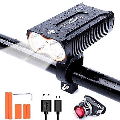 Linn LED Fahrradlicht Set, Fahrradbeleuchtung USB Wiederaufladbare Frontlicht,2400 Lumen Sport Wasserdicht,4 Licht-Modi,LED Fahrradbeleuchtung Set