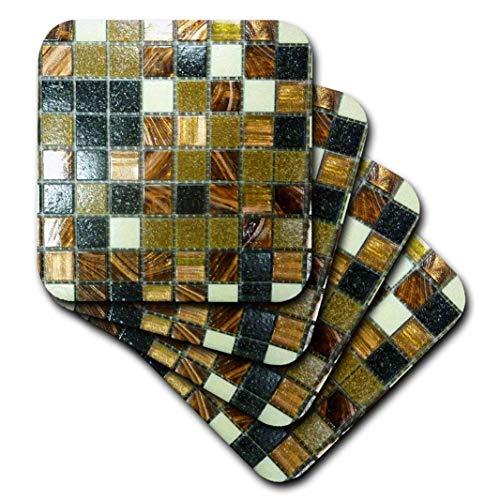 3dRose Bild von Gold Kupfer und schwarz metallic Fliesen-weich Untersetzer, Set 4(CST 223492_ 1)