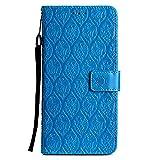 DENDICO Funda LG G7, Premium Flip Libro Cuero Carcasa, Carcasa PU Leather con TPU Silicona Protección Carcasa para LG G7 - Azul