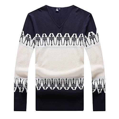 Insun Herren Sweatshirt Strickpullover mit V-Ausschnitt Streetwear Herbst Winter Strick Strickwaren Pullover Dunkelblau EU L (Herren-pullover Mit Alpaka-wolle V-ausschnitt)