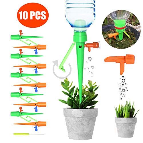 STN Automatisch Bewässerung Set,10PCS Plant Selbstbewässernde Spikes mit Anti-Tilt Anti-Down-Halterung, geeignet für alle Flaschen, Pflege Ihrer Indoor & Outdoor Home Office Pflanzen -