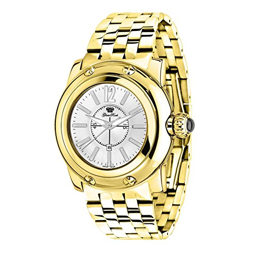 Glam Rock Women's Miami 46mm Gold-Tone Steel Bracelet Gold Plated Case Swiss Quartz Analog Watch GR30026S