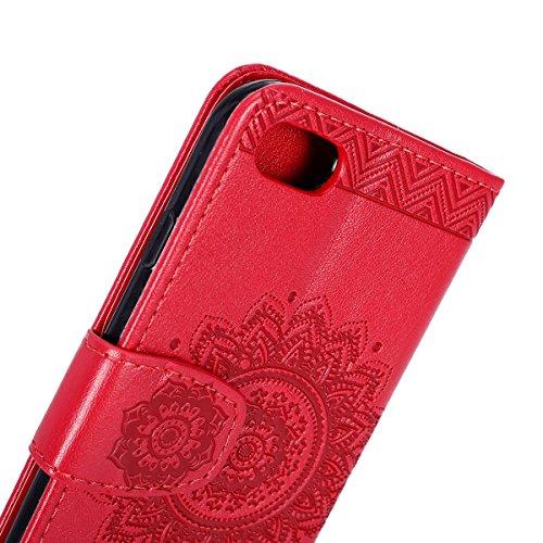 EUWLY Cover Custodia per iPhone 7/iPhone 8 (4.7) Protettiva Custodia Case Fiore Farfalle Sbalzato Portafoglio Cover Retro Elegante Uomini Donne Flip Custodia in Pu Pelle con Chiusura Magnetica Estern Rosso