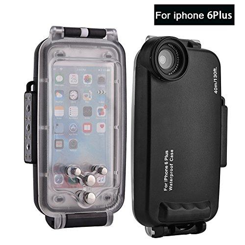 Wasserdichte Handyhülle 40m / 130ft iPhone 6 Plus Unterwasser Tauchens Schützender Gehäuse Abdeckungs Stoßsicher Snowproof Staubdicht(Schwarz 6p)