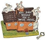alles-meine.de GmbH Spardose -  Ein Paar Mäuse für´s Neue Heim  - mit Schlüssel - Stabile Sparbüchse aus Kunstharz - Hausbau Haus Geld Sparschwein Hochzeit - Einfamilienhaus / Wohnung