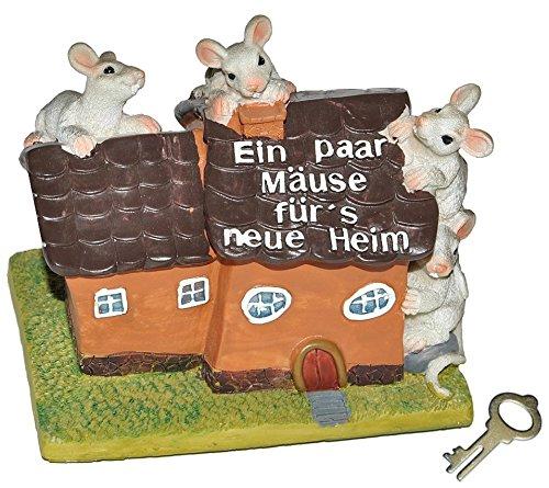 Unbekannt Spardose -  EIN Paar Mäuse für´s Neue Heim  - mit Schlüssel - stabile Sparbüchse aus Kunstharz - Hausbau Haus Geld Sparschwein Hochzeit - Einfamilienhaus / ..