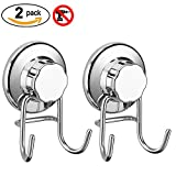 SANNO Strong Hook with Vacumn Suction Cups for Flat Smooth Wall Surface Towel Robe Bathroom Kitchen Shower Bath Coat,NeverRust Stainless Steel(2pcs)