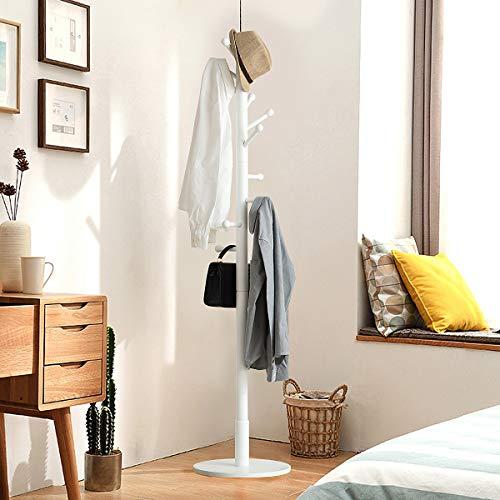 TinyTimes Garderobenständer, Kleiderständer, Garderobe, Buche, Holz, Stabil, Garderobenständer Vintage,10 Haken,Stabiler Fuß, 40 × 40 × 180 cm (Weiß)