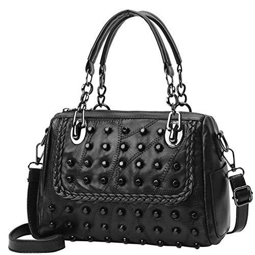 Booreo borse casual da donna borse da donna in pelle tinta unita con borchie borse a tracolla borse a tracolla