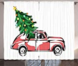 ABAKUHAUS Weihnachten Rustikaler Gardine, Retro Auto Weihnachtsbaum, Schlafzimmer Kräuselband Vorhang mit Schlaufen und Haken, 280 x 260 cm, Weiß Rot
