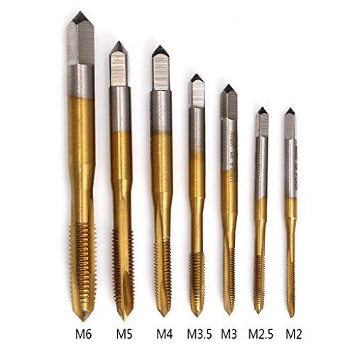 Jiamins 7-teiliges Bohrer-Set, Gewindeschneider, Gewindeschneider, metrisch, HSS metrisch, M2 / M2,5 / M3 / M3,5 / M4 / M5 / M6