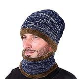 Vbiger Gorras Con Bufanda y Gorros de punto Sombreros de Invierno Hombre (C-azul marino)