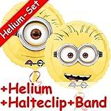 Folienballon Set * MINIONS + HELIUM FÜLLUNG + HALTE CLIP + BAND * // Aufgeblasen mit Ballongas // Kindergeburtstag Deko Geburtstag Folien Ballon Luftballon Einfach unverbesserlich