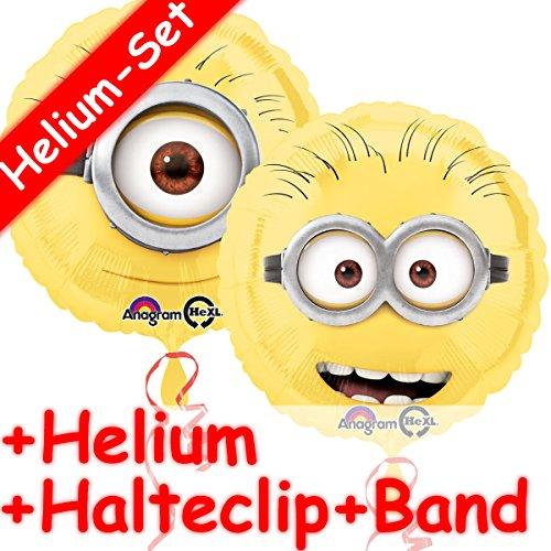 INIONS + HELIUM FÜLLUNG + HALTE CLIP + BAND * // Aufgeblasen mit Ballongas // Kindergeburtstag Deko Geburtstag Folien Ballon Luftballon Einfach unverbesserlich ()