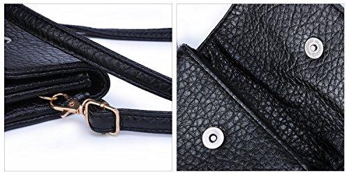 Hengwin Piccolo Borsello in pelle PU borsa del portafoglio sacchetto del cellulare con tracolla per le donne Ragazze, Nera Nero
