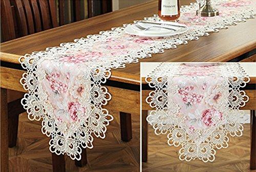 Preisvergleich Produktbild TaiXiuHome European Style Tischläufer mit Beige Lace Stickerei für Dinning Tisch Teetisch Kühlschrank TV Cover Handtuch ca. 16x70 Zoll (40x180cm)