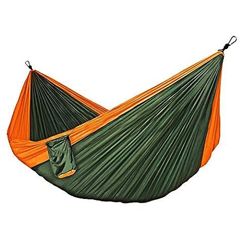 Hammock Tree Straps Camping Hammocks - MONOJOY Double Hanging Parachute Nylon Fabric Hammock Swing Portable (Hatteras Amache Swing)