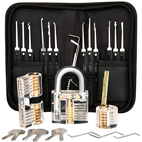 Luxebell Dietrich Set, 24 Stück Lock Picking Set mit 3 Transparenttem Vorhängeschloss Dietrichen Kit für Anfänger und Professionelle Lockpicker (Kit Schloss-picking)