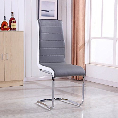 Schindora® 2 x New Gray Faux Leather Dining Chairs - High Back and Chrome Legs