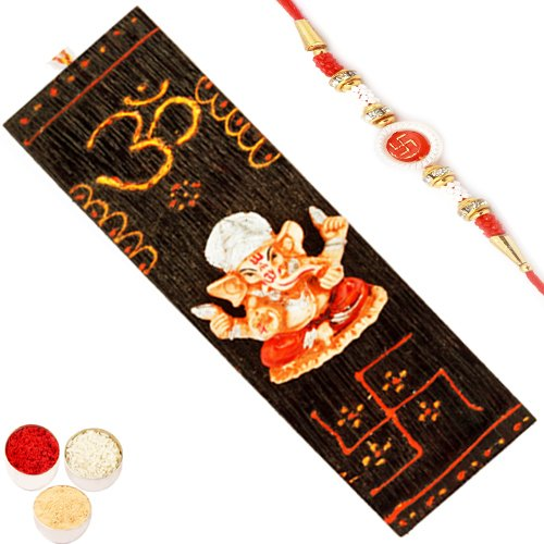 Ghasitaram Gifts Rakhi Gifts - Long Wooden Ganesha Hanging  available at amazon for Rs.392