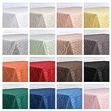 Tischdecke, FARBE wählbar, Streifen Damast Textil, Bügelfrei, Eckig 130x220 cm, Weiß - 4