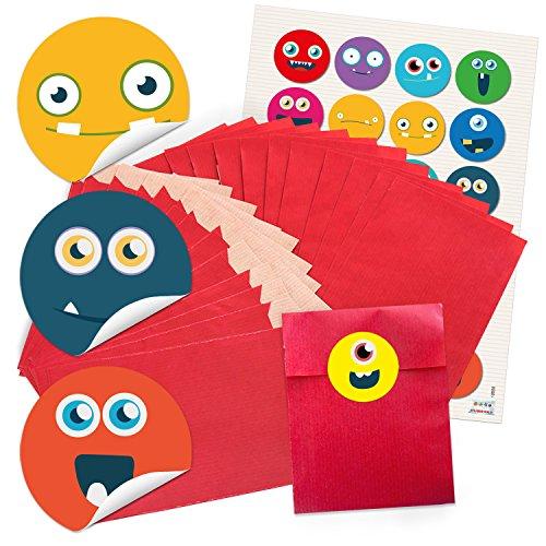 Preisvergleich Produktbild 24 kleine rote Papiertüten Geschenktüten Geschenk-Verpackung (9,5 x 14 cm) und 24 runde Aufkleber Sticker bunte LUSTIGE GESICHTER smilies faces emoji Sticker blau rot gelb grün zum Basteln.