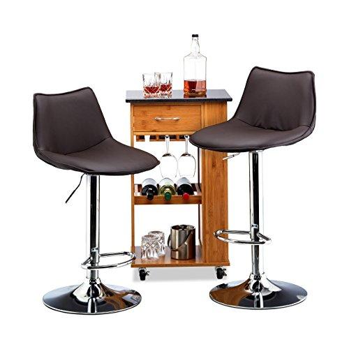 Relaxdays set 2 sgabelli da bar altezza regolabile girevoli con schienale similpelle hxlxp marrone, hxwxd: 107 x 45 x 45 cm
