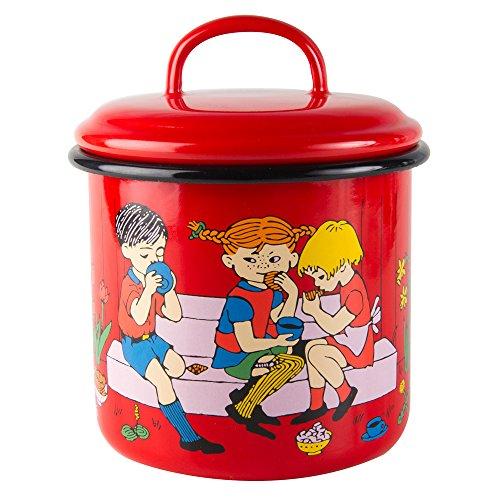 Pippi Longstocking 1,3 L et tasse de café en émail avec couvercle-Rouge