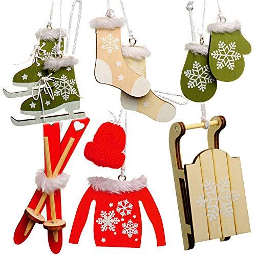 Unbekannt 10 TLG. Deko Set - Streumotive -  Winter & Weihnachten - Ski / Schlittschuhe / Schlitten - aus Holz - Miniatur / Diorama - Anhänger - Weihnachtsdeko / Winte..