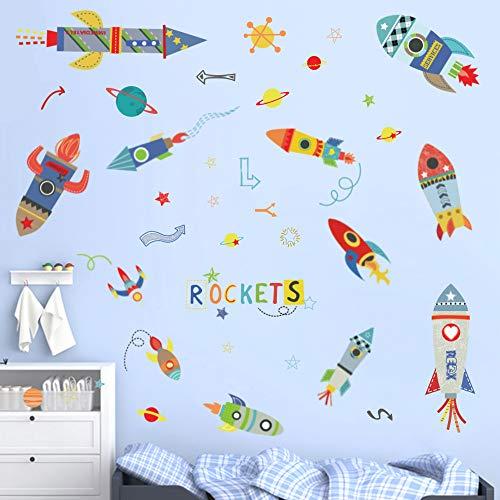 ufengke Wandtattoos Bunte Raketen Wandaufkleber Wandsticker Weltraum Planeten Wanddeko für Schlafzimmer Kinderzimmer Jungen