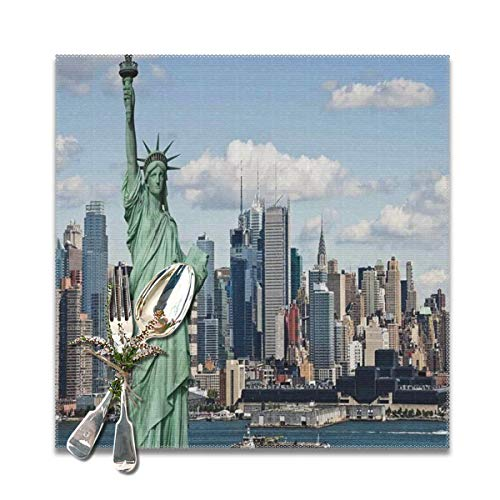 Funny&shirt Placemats for Dining Table,New York Statue of Liberty in NYC Non-Slip Insulation Placemat Washable PVC Polyester for Kitchen Banquet Party,Set of 6, 12x12 inch - Statue Of Liberty-new York
