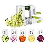 DELCRIMO Cortador Espiral de Verduras Frutas - Rebanadora Espiralizador Vegetal con 5 Cuchillas Desmontables de Acero Inoxidable / mandolina