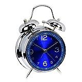Skitic Classico 4 Pollici Grande Quadrante Sveglia con Doppia Campana, Funzionamento Silenzioso Meccanismo al Quarzo Analogica D'allarme Alarm Colock - Blu