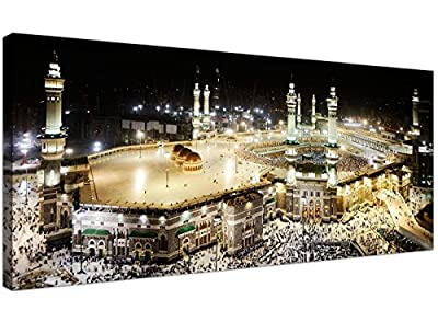 Large Islamic Canvas Wall Art Prints of Muslim Hajj Pilgrimage to Kabba in Mecca at Night - 1190 - Wallfillers®